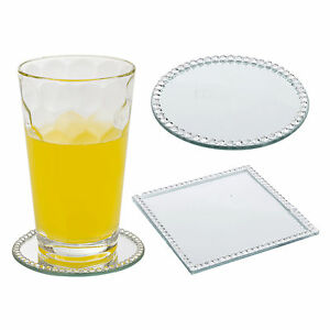 Round Square Glass Mirror Coaster Plate Cup Table Decoration Bead Edged Sparkle