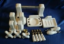 Vintage Bathroom Fixtures Cross Handled Porcelain White Reclaimed Salvaged 18 Pc