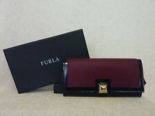 NWT FURLA Burgundy and Black Leather Cortina Wallet/Clutch - $248