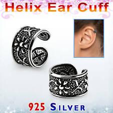 Ohrring Klemmer helix ear cuff Fake Piercing kein Ohrloch Silber 925 Blüte Blume