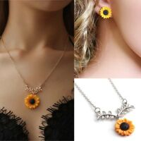 Women Sunflower Necklace Jewelry Set Flower Earrings Leaf Branch Pendant