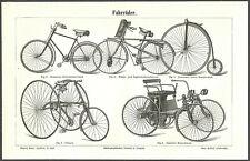 OLD BICYCLES - Original 1897 vintage German engraving print
