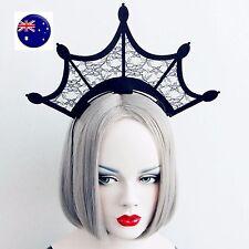 Women Girl Gothic Black Crown Halloween Vampire Queen Party Hair Headband Prop