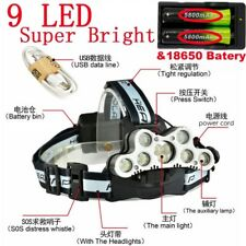 9 LED USB Rechargeable 100000LM T6 LED Headlamp Headlight 18650 Battery Bright