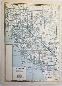 1935 California Nevada Antique Map J Thomas Co Great to Frame CA NV