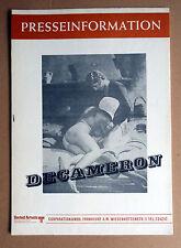 DECAMERON * PASOLINI - PRESSEHEFT Pressbook German ´71 CITTI, DAVOLI, JOVANOVIC