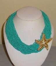 Fashion Multi Strand Turquoise Seed Bead Starfish Pendant Necklace