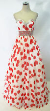 PAPARAZZI by MORI LEE Red / White Evening Prom Gown 8