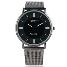 KEVIN Rhinestones Stainless Steel Mesh Band Strap Men Women Dress Wrist Watch