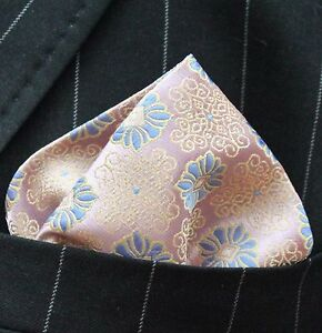 Hankie Pocket Square Handkerchief Dusty Pink Gold & Blue Floral