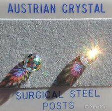 6mm 1/4 in Austrian Crystal Clear AB Disco Ball Stud Earrings on stainless steel