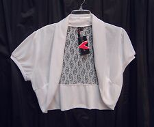 WHITE LACE BACK OPEN FRONT BOLERO SHRUG CARDIGAN SWEATER TOP~2X~1X~0X~XL~XXL~NEW