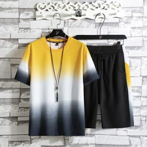 Men's Summer Leisure Tracksuit Thin T-shirt 2 Sets Outfit Sport Set Short Sleeve