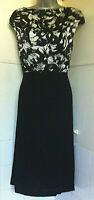 LK Bennett Occasion dress black and white silk bodice flared black skirt lined12