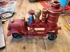 Vintage Cast Iron Steam Pumper Fire Truck And Driver 10 1/2 inches wide