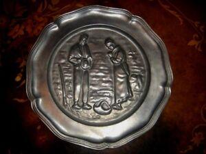 Vintage Decorative Pewter Plate, 90 Percent Tin, Nice!