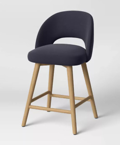 Galles Mid-Century Upholstered Counter Height Barstool NAVY - Project 62 stool