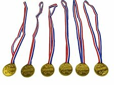 6x Plastic Medal Winner Gold Medals Olympics Prizes  Party Favor Sports Day