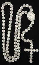 "Iced Out Silver Platinum CZ Cluster Rosary Jesus Cross Chain 36"" Bling Necklace"