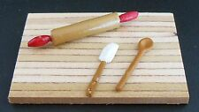 Dollhouse miniatures handcrafted kitchen baking set roling pin, spoon & spatula