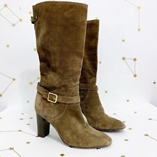 Coach Robyn Tall Boots Size 10 Brown Suede Knee High Heels Buckles Almond Toes