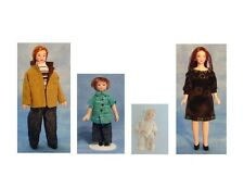 Four 12th scale Porcelain Dolls: Doll Family : Mum + Dad +Son + Baby Daughter