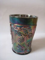 Fenton carnival glass tumbler FLORAL & GRAPE cobalt electric blue cup antique