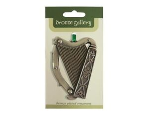 Celtic Harp Bronze Plated Irish Ornament Hanging Decor Royal Tara 3 x 2.5 in