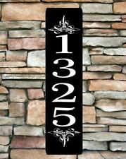 "Personalized Home Address Sign Aluminum 3"" x 12"" Custom House Number Plaque sq14"