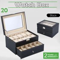 Large 20 Slot Watch Box for Men Leather Design Display Case Holder -Black