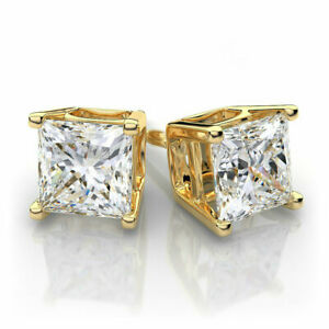 Gold Princess Cut Square CZ Stud Earrings Silver Plated with Rhodium Finish