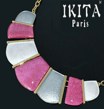 Luxus Statement Halskette IKITA Paris Collier Kette Emaille Glas Vergoldet Rosa