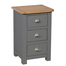 Grey Painted 3 Drawer Bedside Oak Chest Of Drawer / Bedroom / New Farrows
