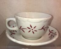 Vtg Sterling Vitrified China USA Restaurant Ware Red Flower Ironstone Cup Saucer