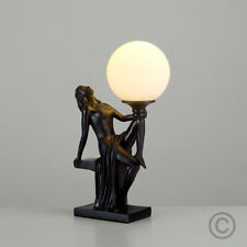 Vintage Art Deco Style Black  White Glass Lady Statue Sculpture Table Lamp