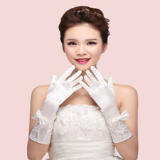 Lace Five Fingers Glove Satin Bow Long Bride Marry Wedding Dress Glove Mittens
