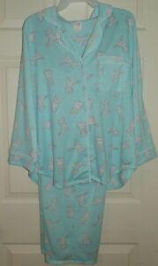 New Womens Large 12-14 Green Dog Print 2 Piece Pajama Set Secret Treasures Capri