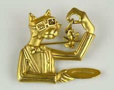 """AJC VTG ESTATE Gold Tone Cat Brooch Pin """"Professor Kitty Discovers a Mouse"""""""