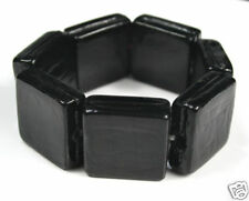 BLACK CHUNKY murano GLASS square BEAD BRACELET