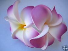 Hawaiian Hawaii Bridal Wedding Foam 2-Flower Hair Clip Purple White Plumeria