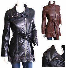 Zip Leather Patternless Coats & Jackets for Women