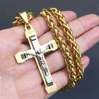Large Crucifix Cross Necklace Gold/silver tone Stainless Steel Chain For Mens