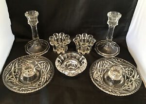 JOBLOT OF VINTAGE GLASS CANDLE HOLDERS INC. FRANCE/INDONESIA KIG