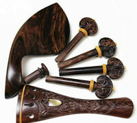Carved rosewood violin accessories parts 4/4 Pegs/Chinrest/Tailpiece/Endpin