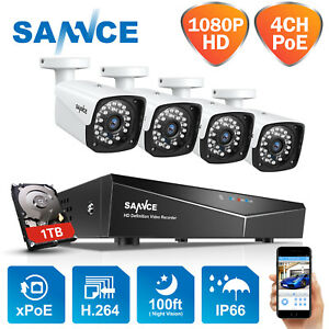 SANNCE CCTV 1080p PoE System 4CH NVR HD Outdoor Camera Kit 100ft/30m Email Alert