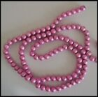 100 beads 8mm Drawbench Glass Round PINK 1 strand