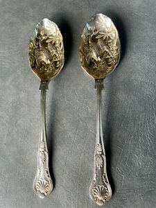 """2 Vintage Embossed Peacock Silver Plated Sheffield England Serving Spoons 8 3/4"""""""