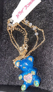 Authentic Betsey Johnson Blue Glitter Gummy Bear Crystal Pendant Necklace - NWTs