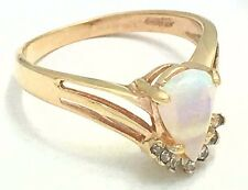 NATURAL 0.64 Cts AUSTRALIAN OPAL & DIAMONDS RING 14k GOLD* FREE S/H & APPRAISAL