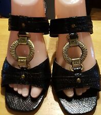 Extremes by Jade sandals black size 8 1/2 women slides metal ring on toe nice